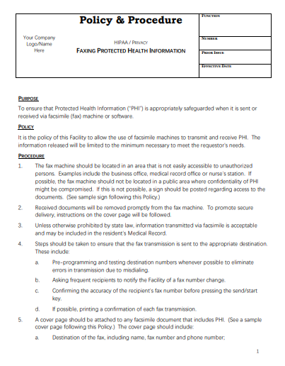 medical fax cover letter template